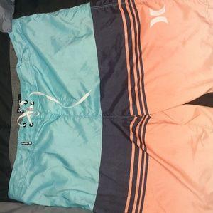Teal/orange/navy hurley board shorts